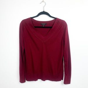 Banana Republic Silk Cashmere Red V-Neck Sweater